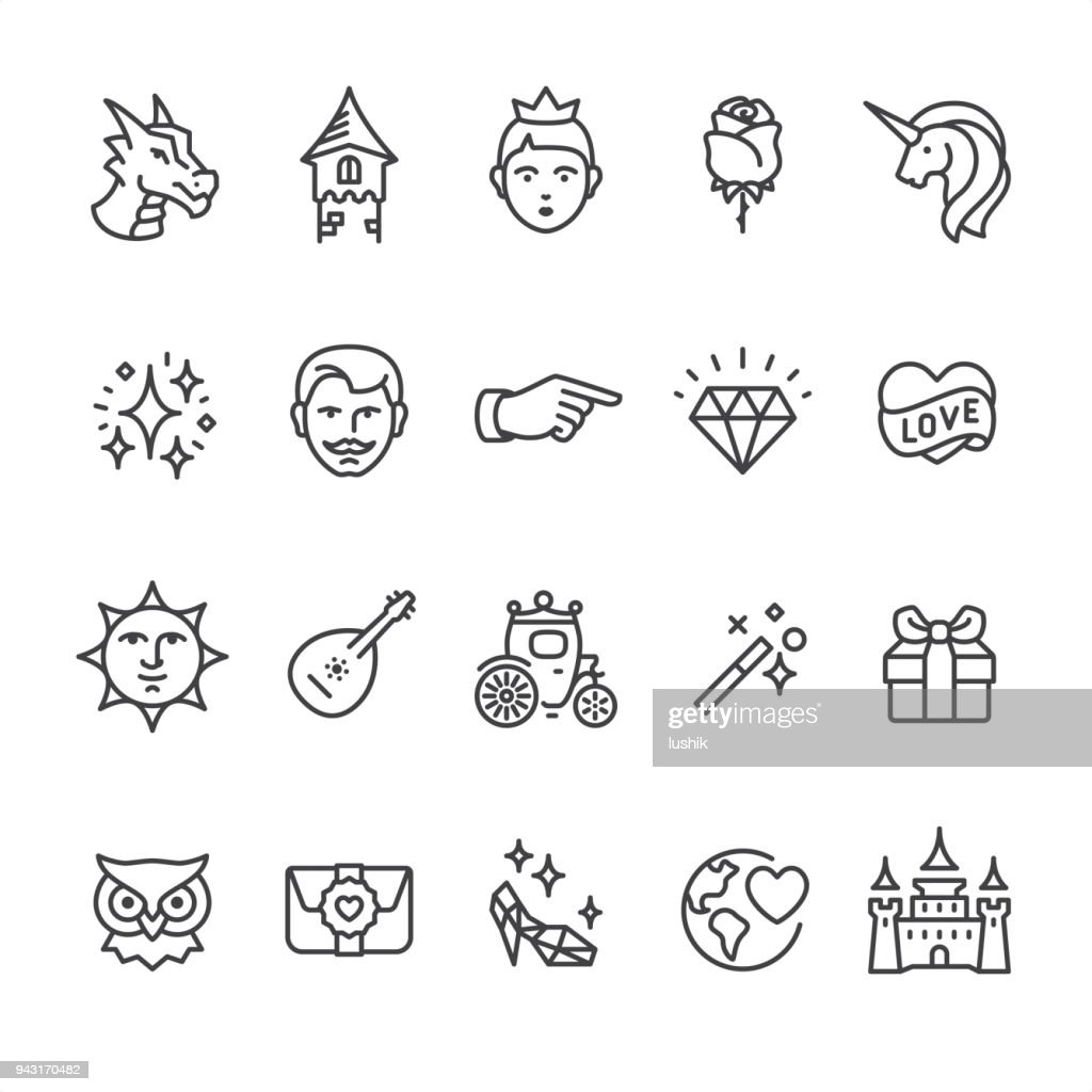 Princess and Fairy Tale - outline vector icons : stock illustration