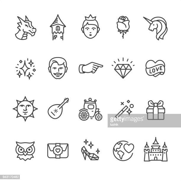 stockillustraties, clipart, cartoons en iconen met prinses en sprookje - omtrek vector iconen - prins koninklijk persoon