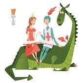 Princess and knight read a book sitting on a back of a dragon. Diada de Sant Jordi (the Saint George's Day). Dia de la rosa (The Day of the Rose). Dia del llibre (The Day of the Book). Traditional festival in Catalonia, Spain.
