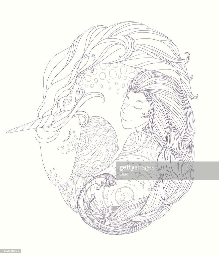 Princess and Unicorn in circular framework for coloring book.