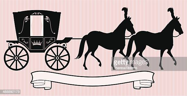 princess carriage - horsedrawn stock illustrations, clip art, cartoons, & icons
