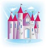 Princess castle fairy tale art design vector image