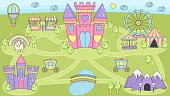 Princess castle play mat activity game for girls.