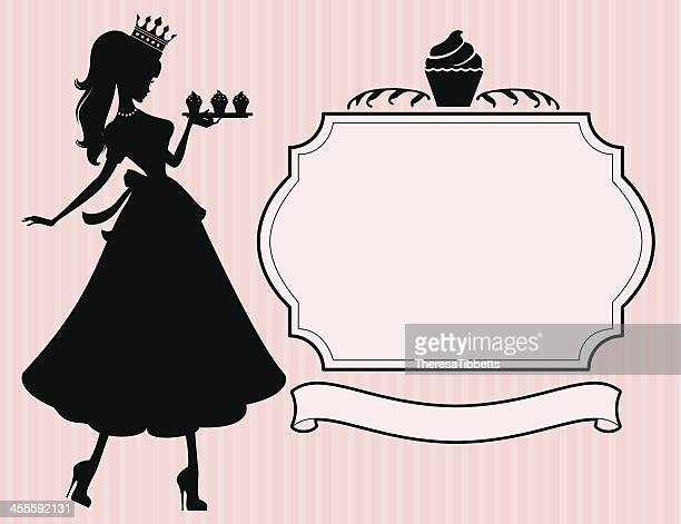 princess cupcake - making a cake stock illustrations, clip art, cartoons, & icons