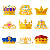 Princess diadems and golden crowns of kings and queens. Vector set isolate on white