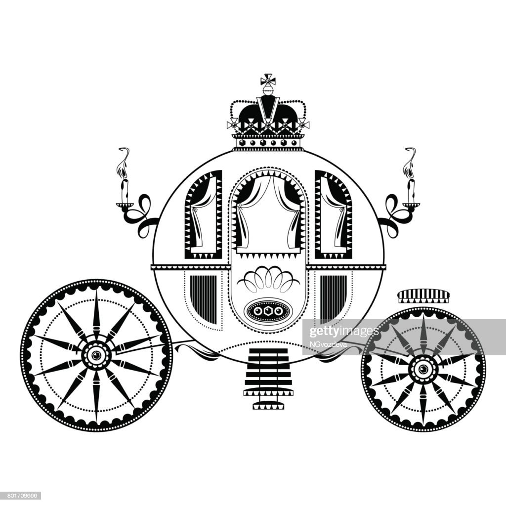 Princess Fantasy Carriage. Black and white.
