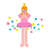 Princess fart butterfly. Woman farting. Sweet girl with crown. Vector illustration