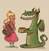 Princess feeds a dragon