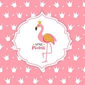 Princess Flamingo Crown  Background Vector Illustratio