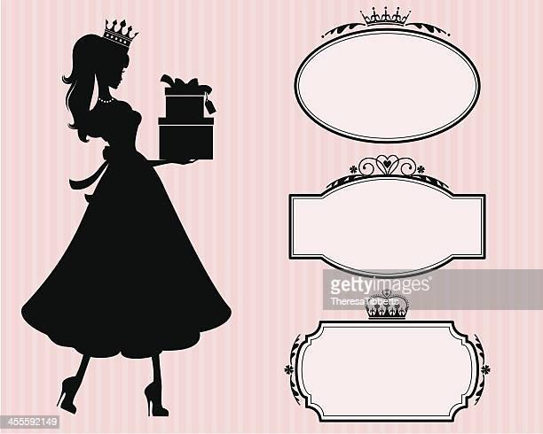princess gifts and gift labels - tiara stock illustrations, clip art, cartoons, & icons
