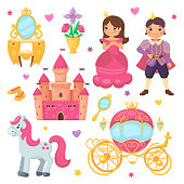 Princess girl and prince boy cartoon set. Royal collection with beautiful carriage, cute castle, adorable pony with pink mane, mirror and vase with flowers. Vector flat illustration for children.