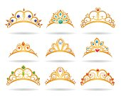 Princess golden tiaras with diamonds
