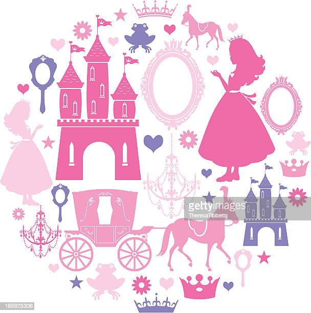princess icon-set - prinzessin stock-grafiken, -clipart, -cartoons und -symbole