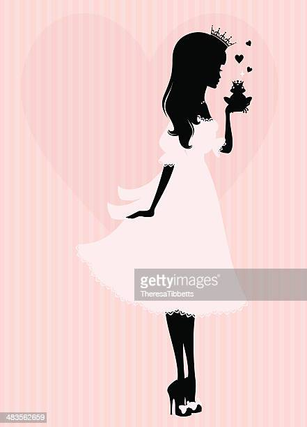 princess kiss - princess stock illustrations, clip art, cartoons, & icons