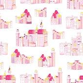 Princess medieval castles vector seamless pattern