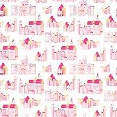 Princess medieval castles vector seamless print