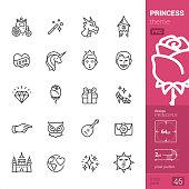 Princess - outline icons - PRO set