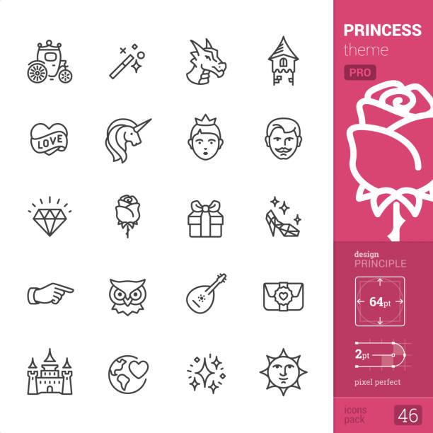 princess - outline icons - pro set - unicorn stock illustrations