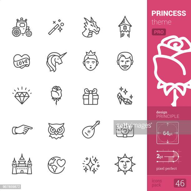 princess - outline icons - pro set - unicorn stock illustrations