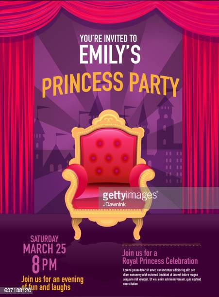 Princess Party invitation design template with curtain