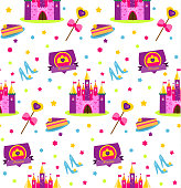Princess party pattern. Vector background with girls design elements. Castle, shoes, wand, cake. For party invitations, gift wrapping, scrapbook papers