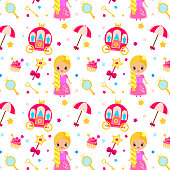 Princess party pattern. Vector background with girls design elements. Queen, carriage, castle, wand. For party invitations, gift wrapping, scrapbook papers