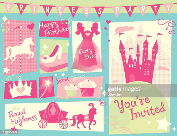 princess party themed design set green and blue horizontal - princess stock illustrations, clip art, cartoons, & icons