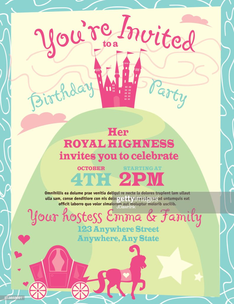 Princess party themed invitation design template vector art getty princess party themed invitation design template vector art stopboris Choice Image