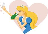 Princess Taking Selfie and Kissing Frog Vector