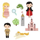Princess theme with castle, prince, carriage
