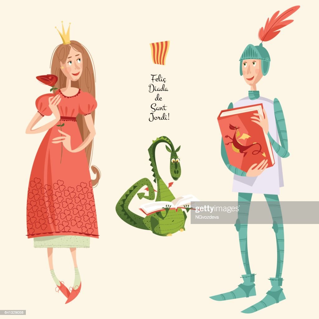 Princess with a rose, knight with a book and dragon reading a book. Diada de Sant Jordi (the Saint George's Day). Dia de la rosa (The Day of the Rose). Dia del llibre (The Day of the Book). Traditional festival in Catalonia, Spain.
