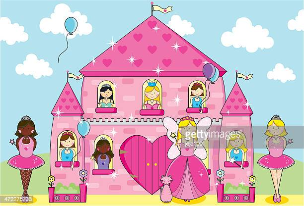 princesses, fairy and ballerinas party in fairytale pink palace. - princess stock illustrations, clip art, cartoons, & icons