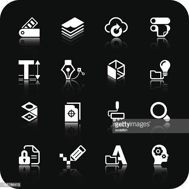 print and design icons   white series - proofreading stock illustrations, clip art, cartoons, & icons
