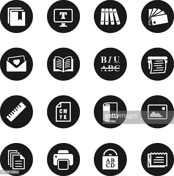 print and publishing icons - black circle series - printout stock illustrations