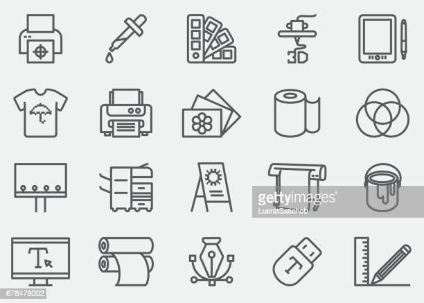 print line icons | eps 10 - printout stock illustrations