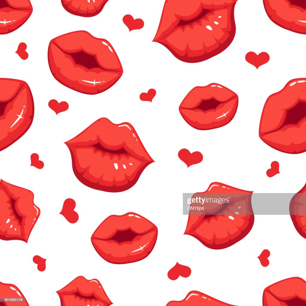 Print marks of female red lips. Vector seamless pattern