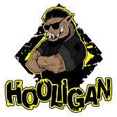 """print on T-shirt """"hooligan"""" with a boar image. Vector illustration"""