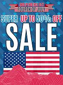 print sale up to 50 percent on a holiday america.Stock image vector,For advertising and brochures