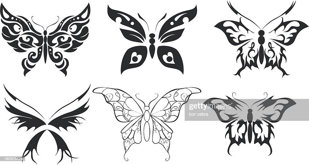 Print set of six stylize butterfly