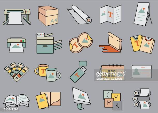 print shop color icons clip art - computer part stock illustrations