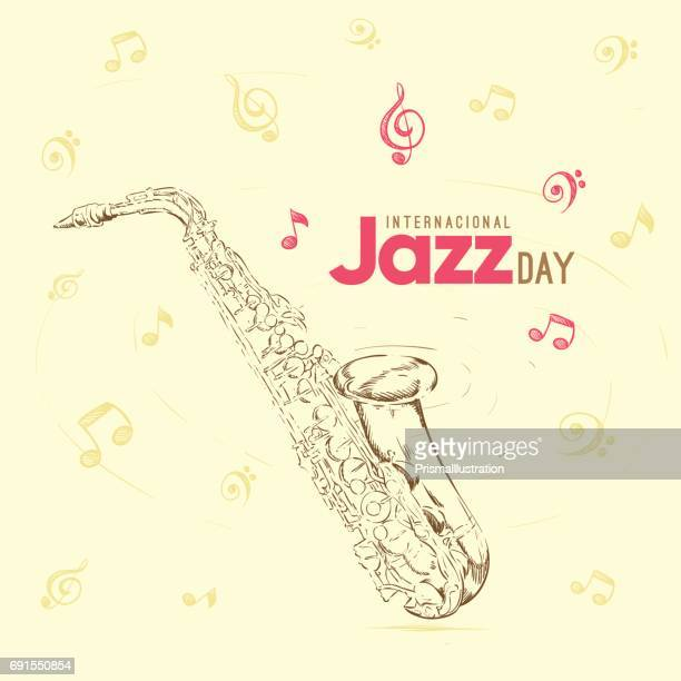 print - saxaphone stock illustrations, clip art, cartoons, & icons