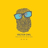 Print with cute and clever owl in glasses.