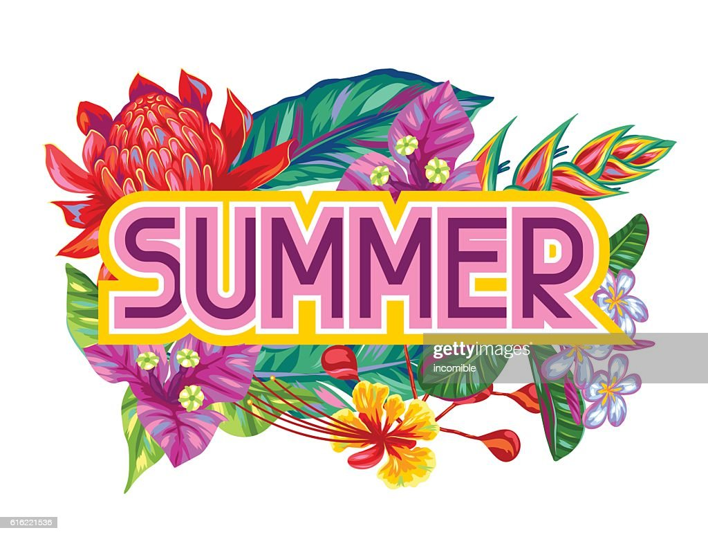 Print with Thailand flowers. Tropical multicolor plants, leaves and buds : Vector Art