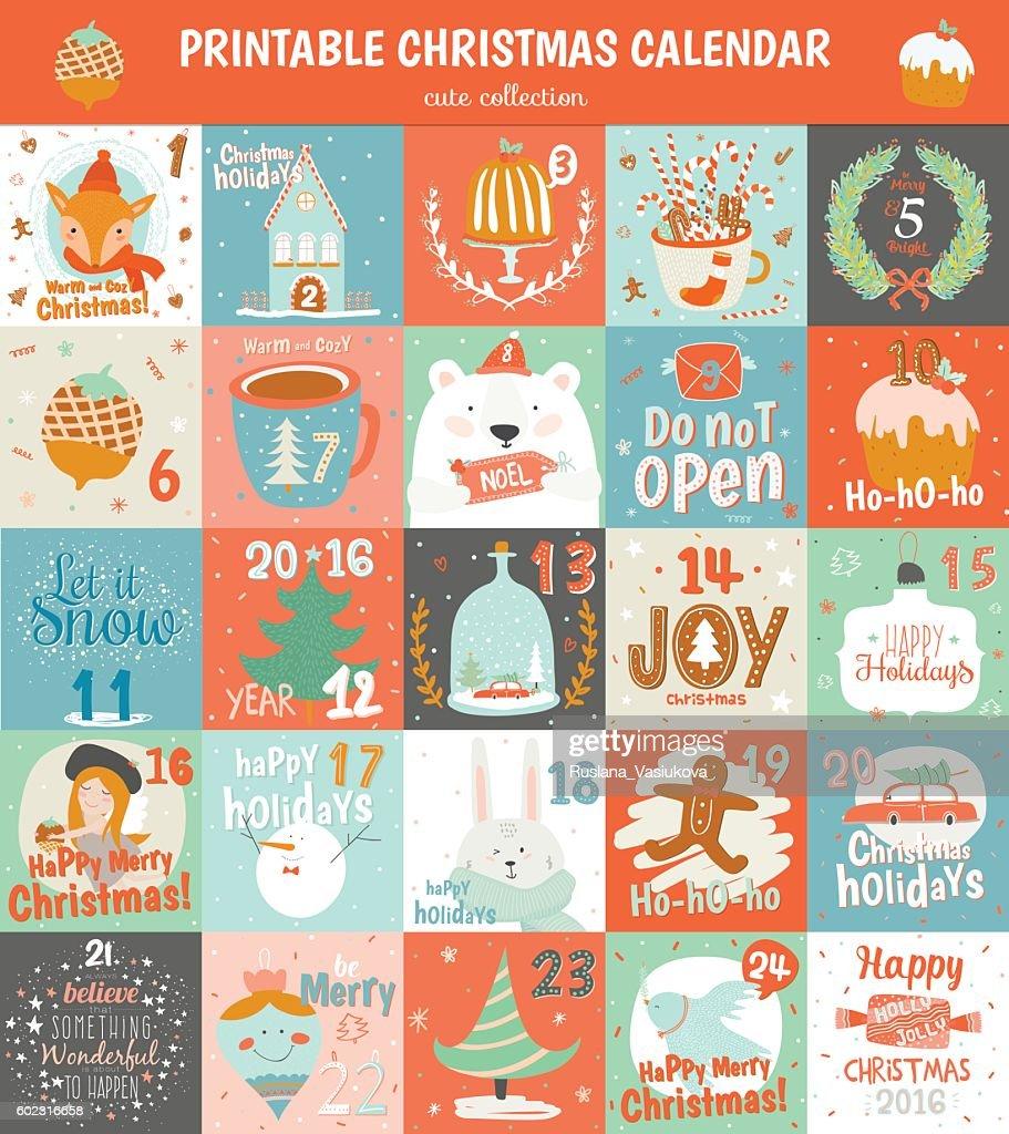 Printable advent calendar in vector.