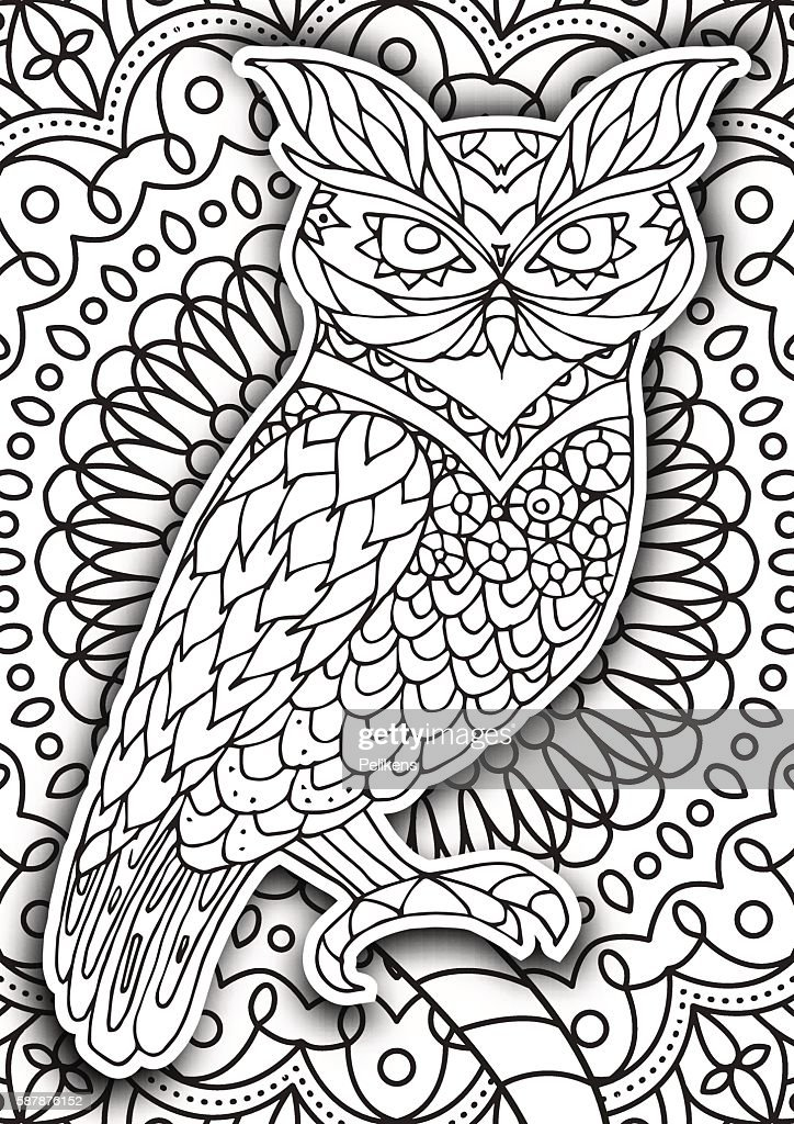 Printable Coloring Book Page For Adults Owl Design Activity Stock ...