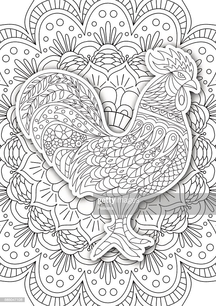 Printable Coloring Book Page For Adults Rooster Design ...