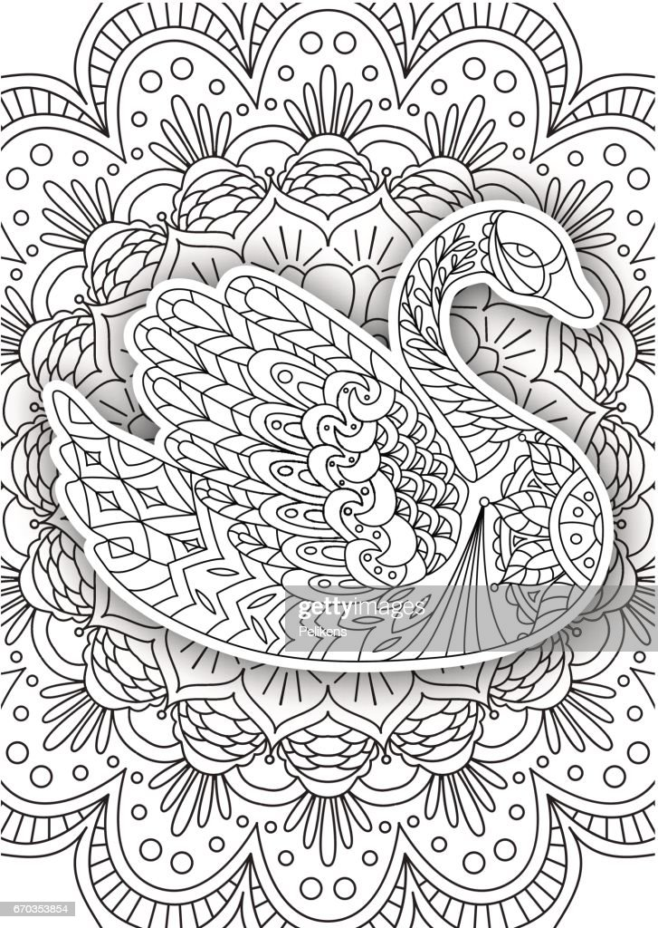 Printable Coloring Book Page For Adults Swan Design Activity To ...