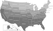 Printable USA map with states labeled grayscale vector outline background