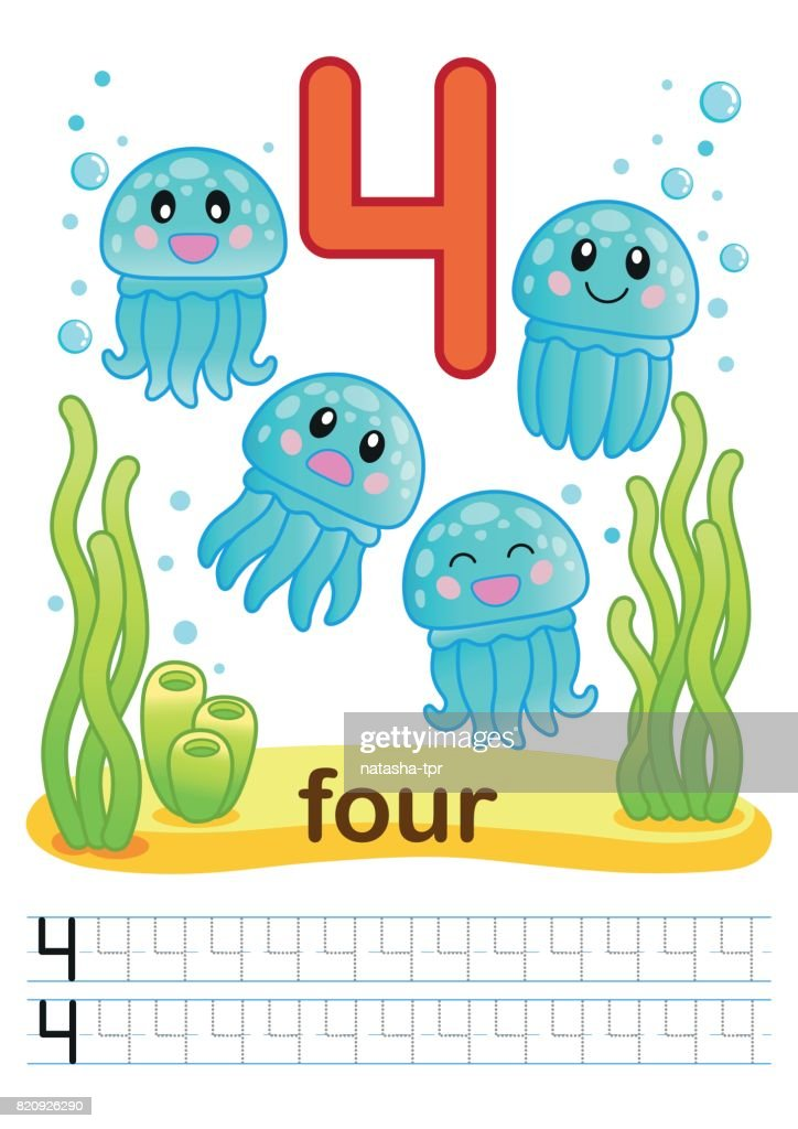 Printable Worksheet For Kindergarten And Preschool Training Exercises For  Writing Numbers Underwater Background With Marine Life Corals And Algae A  Bright Large Number And Samples For Writing High-Res Vector Graphic - Getty