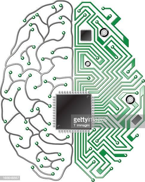 printed circuit board brain - synapse stock illustrations
